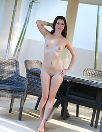 Jasmine Jazz bares her small, pink pussy as she poses by the pool.bretona met art