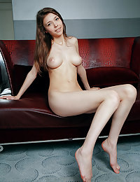 Top model Mila Azul flaunts her gorgeous titties and pink pussy on the couch.toxic a met art