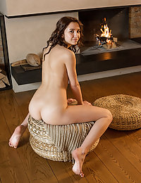 Erna flaunts her tight ass and delectable cookies by the fireplace.ashley doll met art